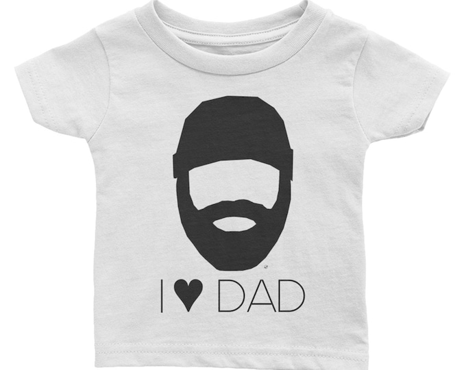 Bearded Lumberjack I Heart Dad / I Love Dad Infant / Baby Short-Sleeve Shirt | Dad Beard | Beard Dad Gift | Gift | Daddy | Hipster | Father