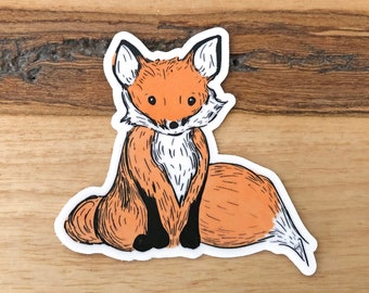 Fox Sticker | Woodland Animal Sticker Fox Vinyl Sticker Fox Weatherproof Sticker Woodland Animal Weatherproof Sticker Fox Gift Birthday Gift