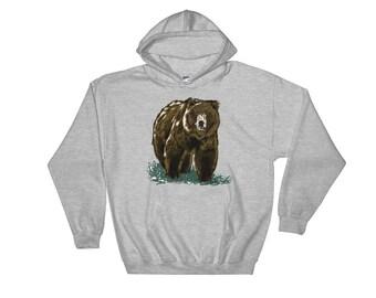 Grizzly Pullover Hoodie Hooded Sweatshirt   Grizzly Sweater Bear Sweater Grizzly Hoodie Bear Sweater Bear Sweatshirt Woodland Animal Sweater