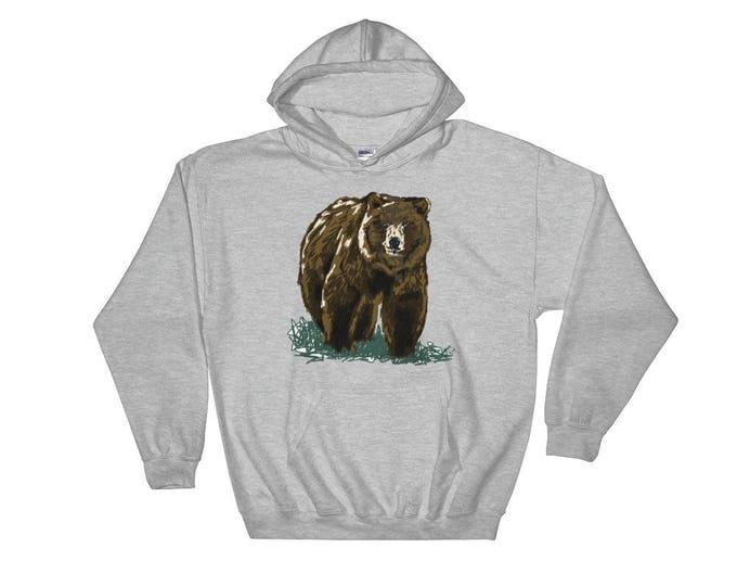 Grizzly Pullover Hoodie Hooded Sweatshirt | Grizzly Sweater Bear Sweater Grizzly Hoodie Bear Sweater Bear Sweatshirt Woodland Animal Sweater