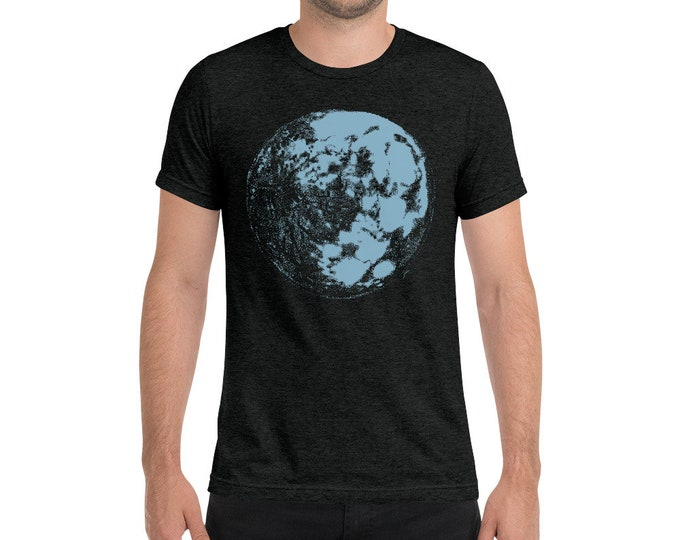 Blue Moon - Space & Science Adult Men's - Unisex Triblend Shirt Moon Shirt Space Shirt Science Shirt | Galaxy Shirt | Full Moon | tri-blend