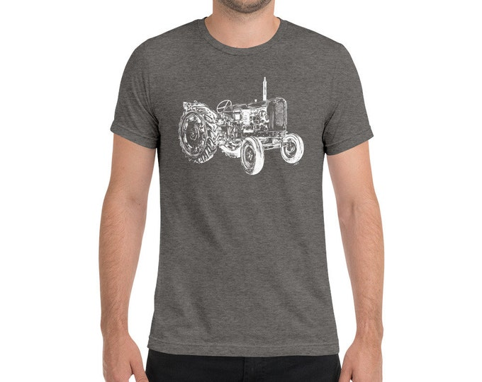 Tractor Adult Men's - Unisex Triblend Shirt Tractor Shirt Father's Day Gift Farm Life Shirt Farm Shirt Farmer tri-blend T-Shirt | Farm Dad