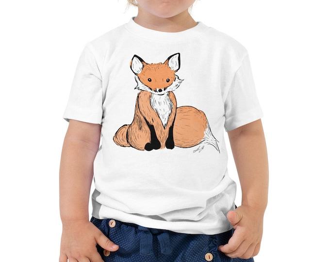 Fox Toddler Short Sleeve Tee 2T-5T | Fox Shirt | Fox Kid's Shirt | Woodland Animal Woodland Creature Like a Fox Birthday Gift Woodland Party