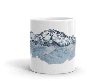 Mount Shasta Coffee Mug 11 Oz   Mount Shasta Mug   Mt Shasta Coffee Mug   Mt Shasta Mug   Mountain Mug Outdoors Mug Hiking Mug Mountain Life