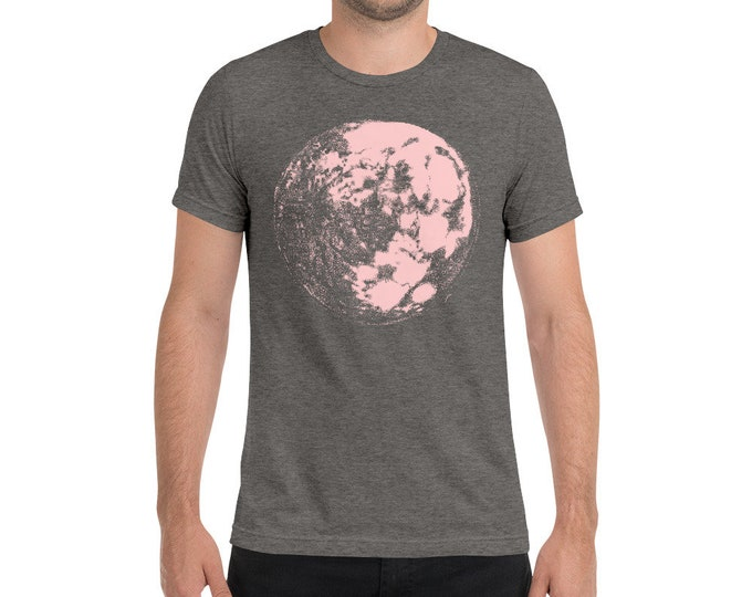 Pink Moon - Space & Science Adult Men's - Unisex Triblend Shirt  Moon Shirt Space T-Shirt Science Shirt Galaxy Shirt  Full Moon | Tri-blend