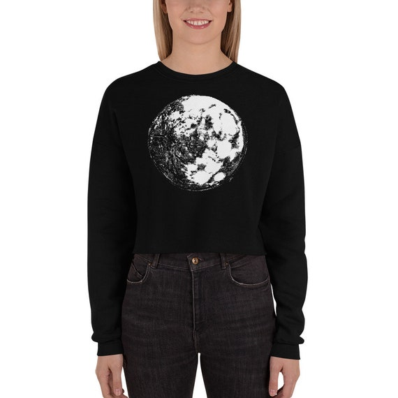 Moon Crop Sweatshirt Full Moon Crop Sweater Moon Crop Sweatshirt Moon Hoodie Moon Sweater Science Sweater Space Hoodie Galaxy Halloween Gift