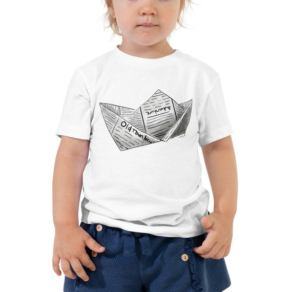 Newspaper Boat Toddler Short Sleeve Tee | Newspaper Boat Shirt Boat Gift Adventure Shirt Kid's Boat Shirt Kid's Shirt Toddler Gift Birthday