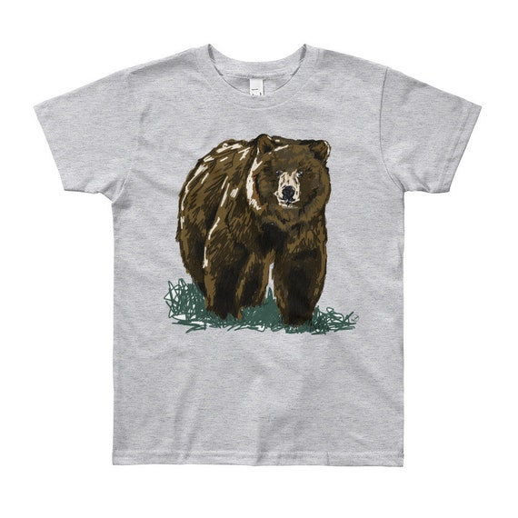 Grizzly Youth Short Sleeve T-Shirt 8yrs-12yrs Bear Shirt Bear Kid T-Shirt Grizzly Shirt Woodland Animal Outdoors Woodsy California bear