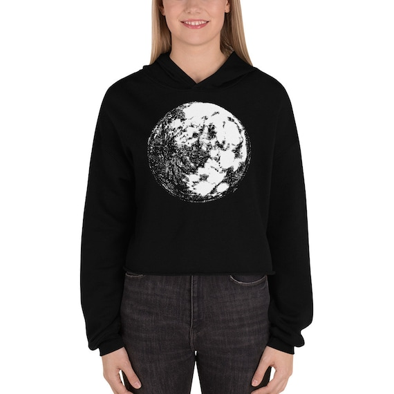 Moon Crop Hoodie | Full Moon Crop Sweater Moon Crop Sweatshirt Moon Hoodie Moon Sweater Science Sweater Space Hoodie Galaxy Halloween Gift