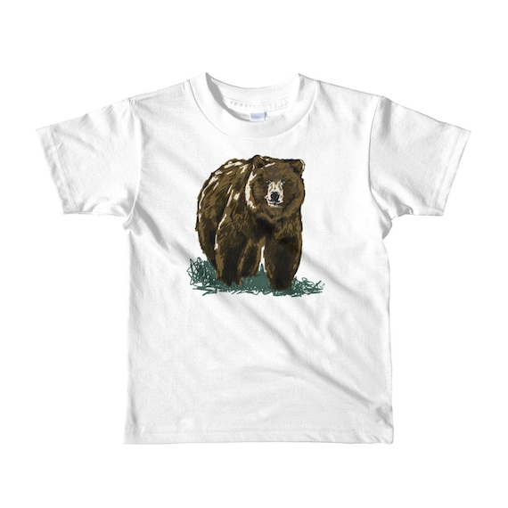 Grizzly Short sleeve kids t-shirt 2yrs-6yrs | Bear Shirt Bear Kid T-Shirt Grizzly Shirt Woodland Animal Outdoors Woodsy California bear