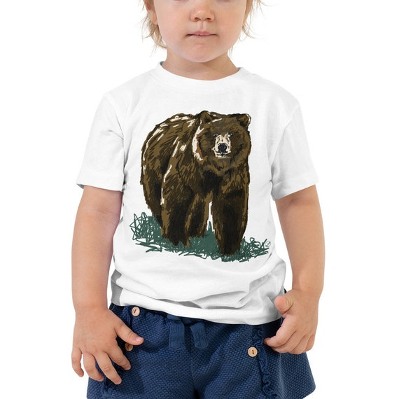 Grizzly Bear Toddler T-Shirt Woodland Animal Outfit for Kids