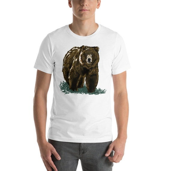 Grizzly Unisex short sleeve t-shirt | Grizzly Bear Shirt Bear T-Shirt Woodland Animal Shirt Bear Shirt Dad Gift Outdoors Brown Bear Shirt