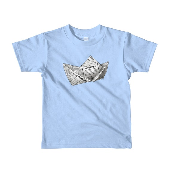 Newspaper Boat Short sleeve kids t-shirt | Newspaper Boat Shirt | Boat | Gift | Adventure Shirt Kid's Boat Shirt Kid's Shirt Birthday Gift