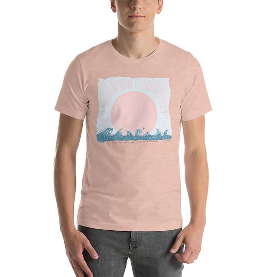 Sail on Distant Seas Unisex short sleeve t-shirt Beach Shirt Vacation Shirt Newport Beach Huntington California Sailboat Sun Waves Shirt