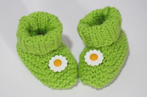 hand knitted baby booties sole 3/""