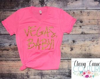 80594735a Vegas Baby Bling vneck or crewneck T-Shirt - vegas shirt - Vegas Vacation  Shirt -Glitter Vacation Shirt - Las Vegas Vacation Bling Shirt