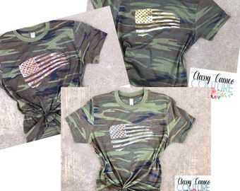 7c7a104592816 Camo Flag Unisex Fit Soft T-Shirt. Womens patriotic foil tee Rose gold shirt.  Gold Tee. Glitter flag t-shirt. Cute womens shirt. USA. Merica