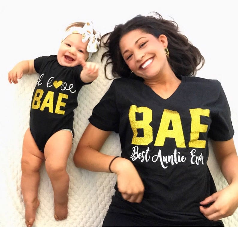 1b16f8ff89629 BAE Best Auntie Ever I Love Bae Matching Aunt Niece Shirts