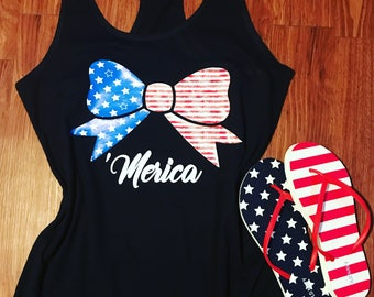Merica 4th of July Bow Flag Tank. Fourth of July Womens Top. Stars and Stripes Americ bow tank. Independence Day. Laabor Day. Memorial Day.
