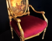 SOLD Hand painted Louis XV style accent chair in gold leaf