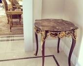 Louis XV style side table with marble top
