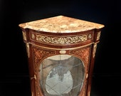 SOLD Classic French style corner cabinet with curved-glass and marble top