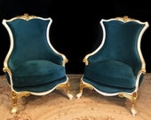 SOLD Neuvo-Classical Accent Chairs in Ivory and Gold