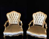 SOLD Gold Louis XV style tufted arm chair