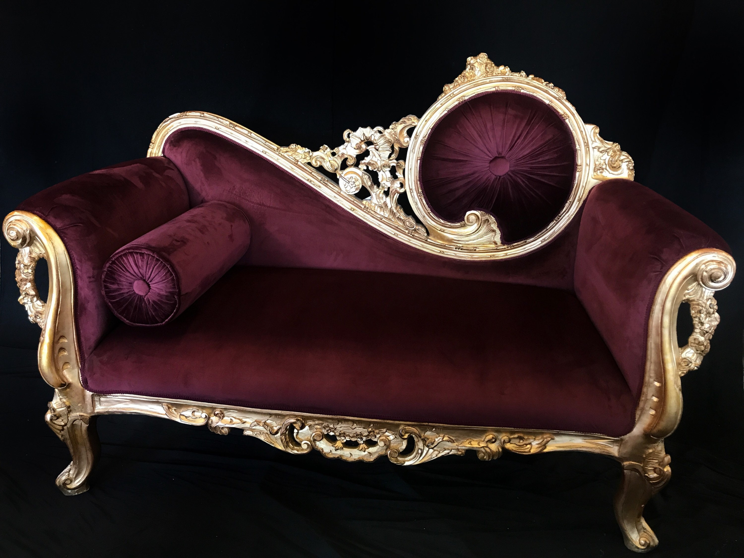 French style Louis XV Gold Chaise Lounge w/Velvet on