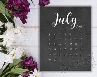 july 2018 limited time instant download digital file printable calendar pregnancy announcement save the date 8x10 5x7 wbc10