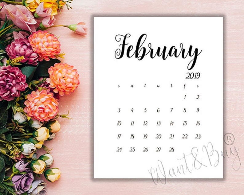 5x7 February 2019 Calendar FEBRUARY 2019 LIMITED TIME Instant DownloadDigital file | Etsy