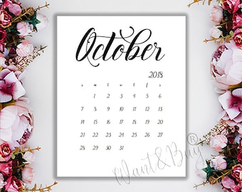 october 2018 limited time instant download digital file printable calendar pregnancy announcement save the date 8x10 5x7 wbc4