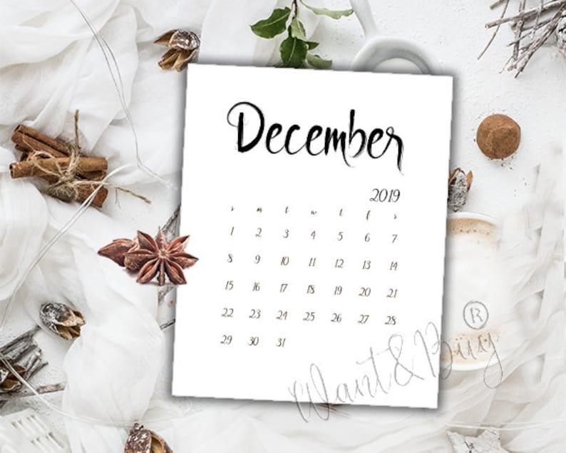 Calendar December 2019 Printable Brown DECEMBER 2019 LIMITED TIME Instant DownloadDigital file | Etsy