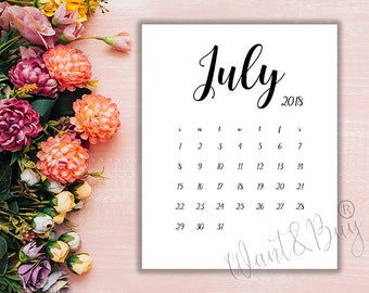 july 2018 limited time instant download digital file printable calendar pregnancy announcement save the date 8x10 5x7 wbc2