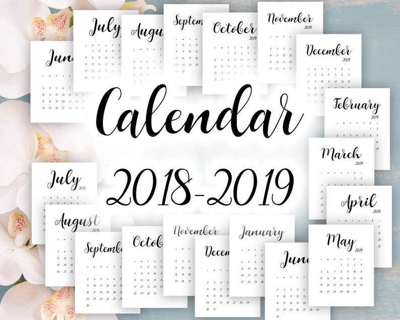 4c67fa93bb584e LiMITED TIME Calendar 2018 2019 Digital file All months