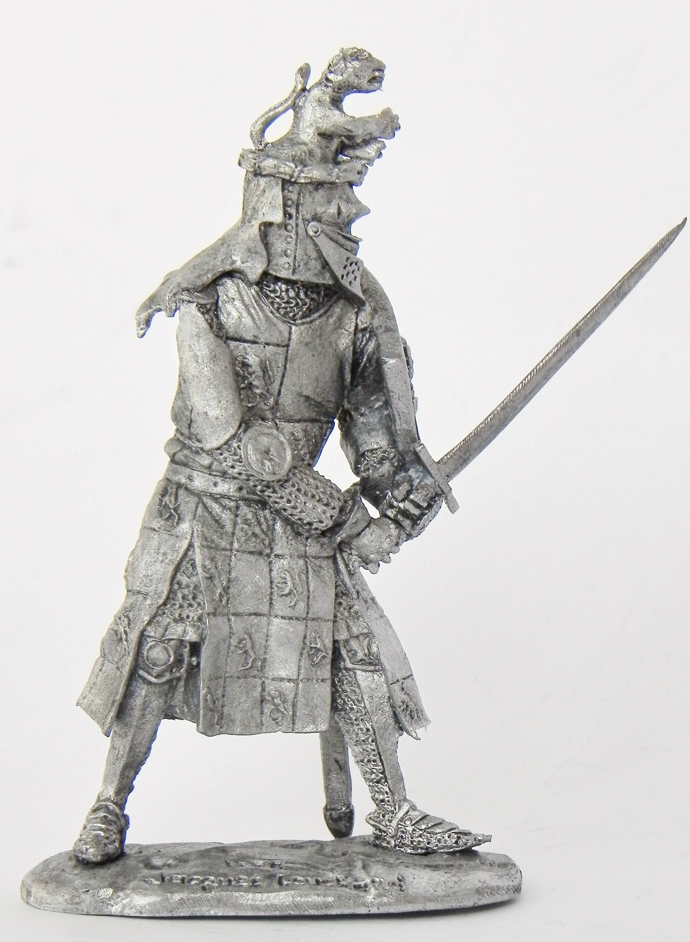 Tin soldier. Tin miniature. Pewter sculpture. Middle Ages.