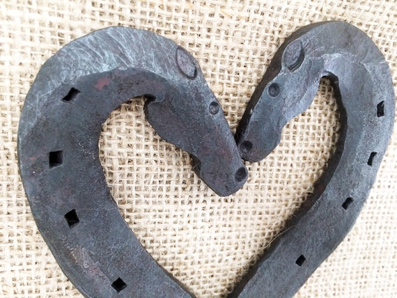 Hand forged lucky horse shoe heart traditional wedding or 6th anniversary gift