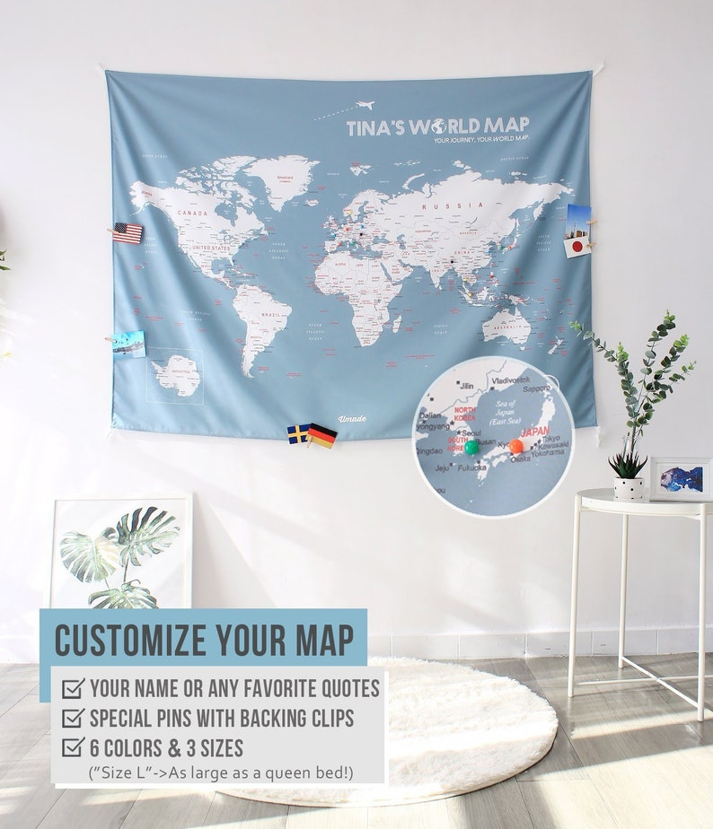 on personalized pin your journeys world map