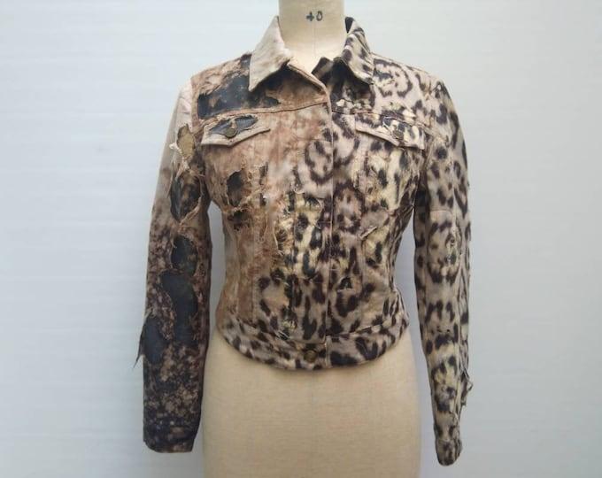 ROBERTO CAVALLI vintage distressed animal print silk applique denim jacket