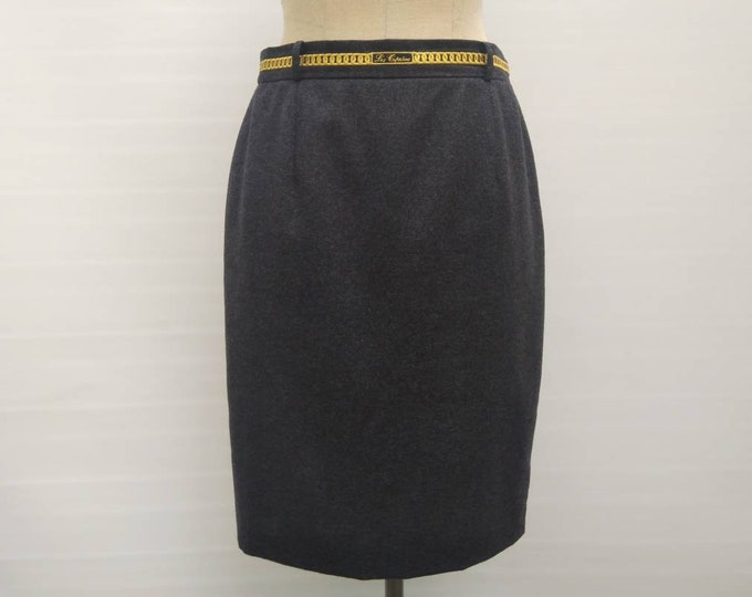 LES COPAINS vintage 80s grey wool pencil skirt with gold chain belt embroidery