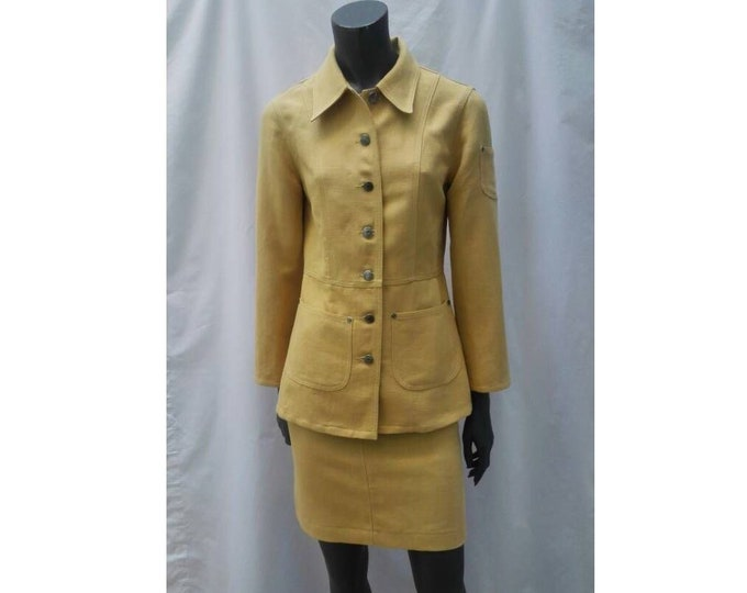 SONIA RYKIEL JEANS vintage 90s mustard yellow skirt suit / safari suit