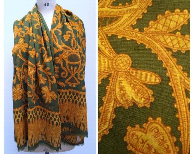NINA RICCI vintage 70s olive and orange wool and silk scarf