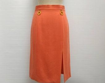 7b3349a2f CELINE vintage 80s salmon wool pencil skirt