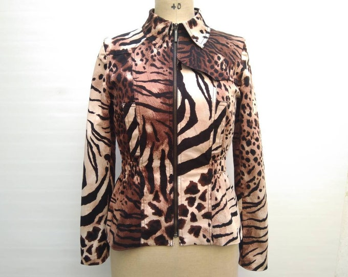 KENZO JEANS vintage 90s mixed animal print cotton jacket