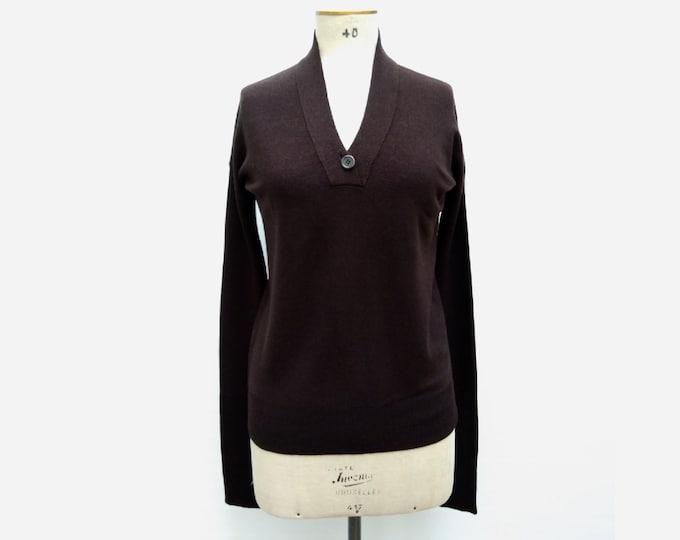 JIL SANDER pre-owned dark chocolate brown wool V-neck sweater