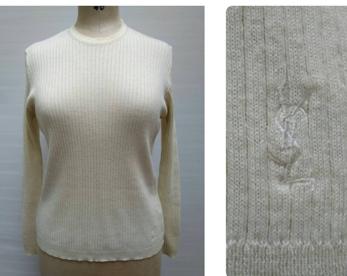 YVES SAINT LAURENT vintage 80s ivory rib knit crew neck sweater