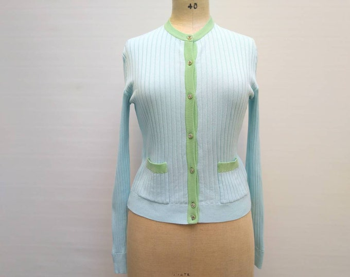 CHANEL vintage 90s pale blue and green cotton rib knit cardigan