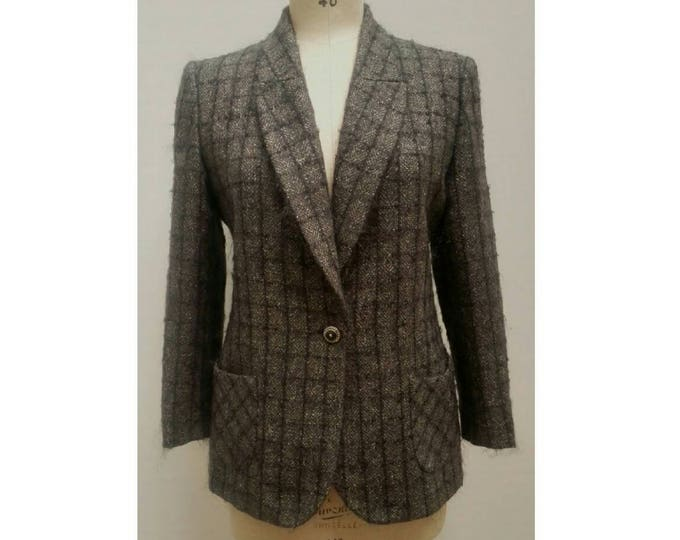 EMANUEL UNGARO vintage 90s anthracite wool and mohair tweed jacket