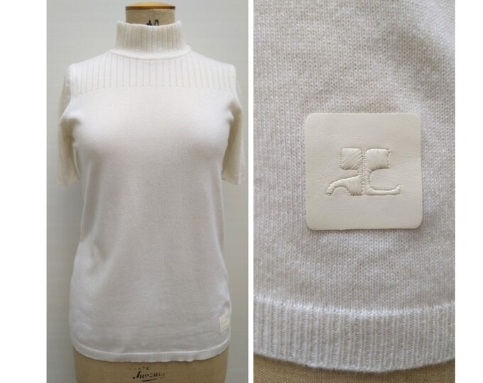 COURREGES pre-owned off-white cashmere sweater top