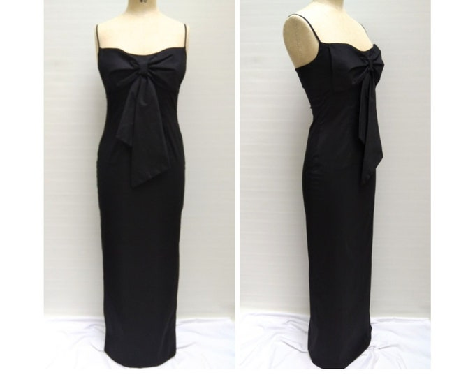 TALBOT RUNHOF pre-owned black floor length evening dress with bow detail